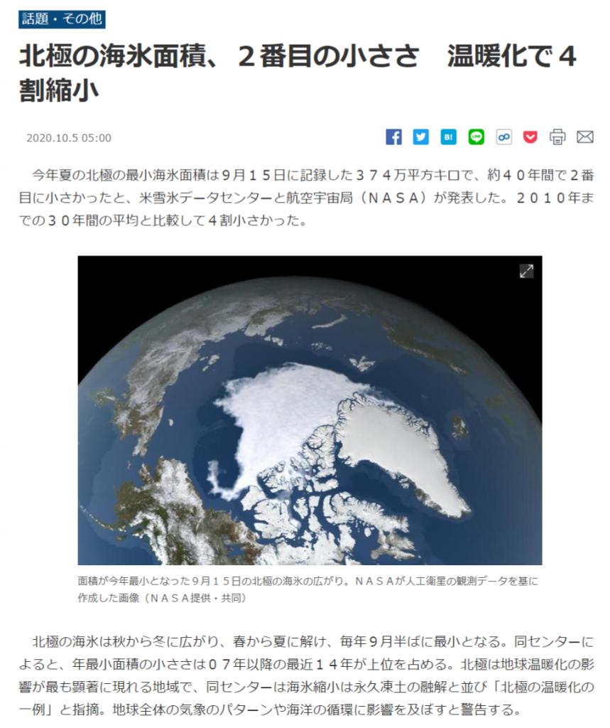 北極海氷、史上2番目の小ささ